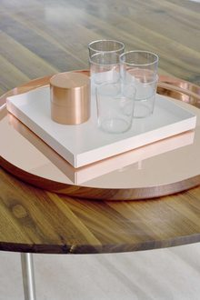 E Cm Habibi Tray Copper Cm Ito Tray White Ta Anna Table Walnut